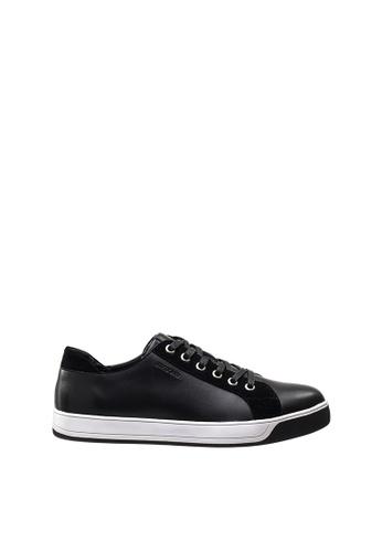 SEMBONIA black Men Leather Sneaker 79462SHAA80FEDGS_1