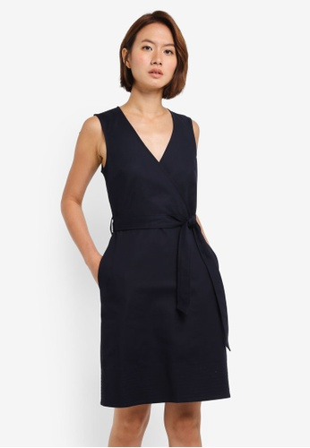 WAREHOUSE navy Compact Cotton Wrap Dress 18811AA2708B00GS_1
