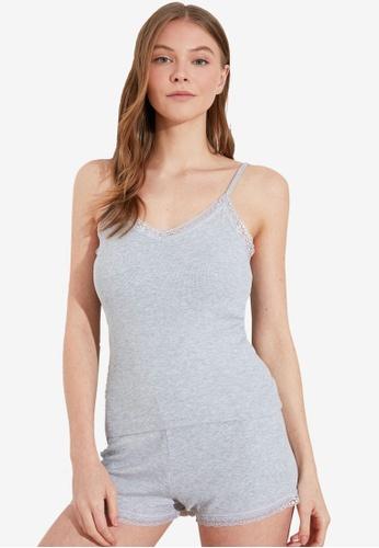 Trendyol grey Cami Lace Pyjama Set B8442AA9093350GS_1