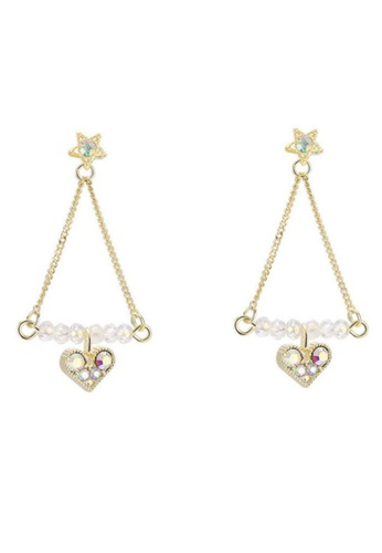 Atrireal pink and gold ATRIREAL - Pink Crystal Series Beaded Triangle Drop Earring 6C626AC3C3841AGS_1