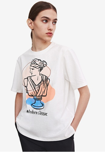 URBAN REVIVO white Printed T-Shirt 1FFCCAAB33BEB7GS_1