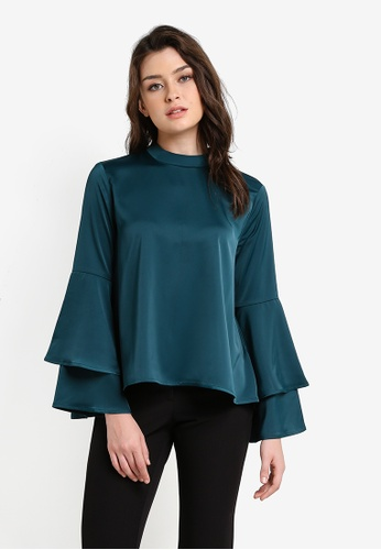 Zalia green Layered Sleeve Loose Top 8FD02AA97FC24DGS_1