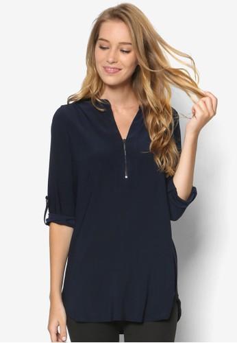 Navyzalora 折扣碼 Zip Front Shirt, 服飾, 服飾