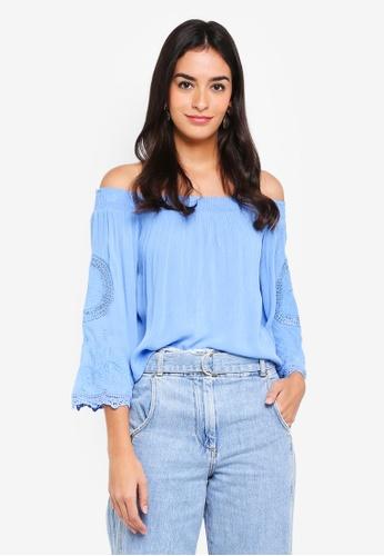 Miss Selfridge blue Blue Cutwork Sleeve Bardot Top CFE2CAA859855FGS_1