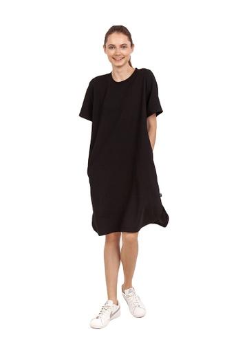 Huitieme 黑色 HUITIÈME 百搭純色T裙寬領 直筒裙 黑 6DE73AA6148F2AGS_1