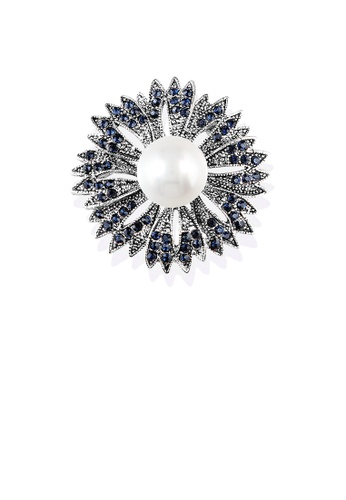 Glamorousky white Fashion Temperament Sunflower Imitation Pearl Brooch with Blue Cubic Zirconia 60432AC9D83587GS_1