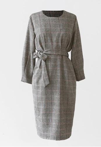 格子繫帶連衣裙, esprit hk服飾, 及膝洋裝