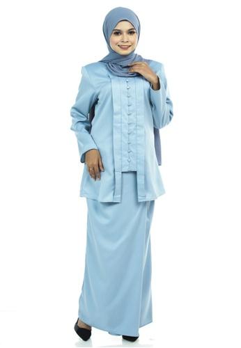 Ashura blue Jahanara Kutu Baru With Front Pleated Skirt FA6E4AAFF28ABCGS_1