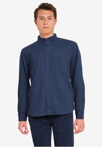 Banana Republic navy Untucked Standard-Fit Flannel Shirt F1C4DAA1F461EFGS_1