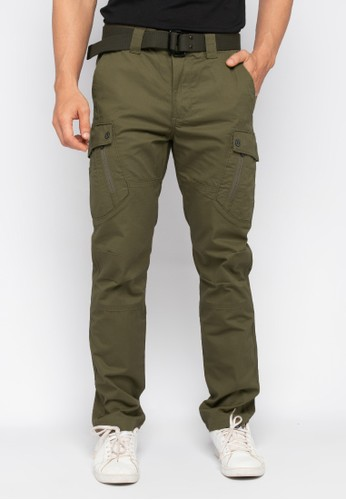 MGEE green and brown MGEE Cargo Pants 13EE8AA1CFC64AGS_1