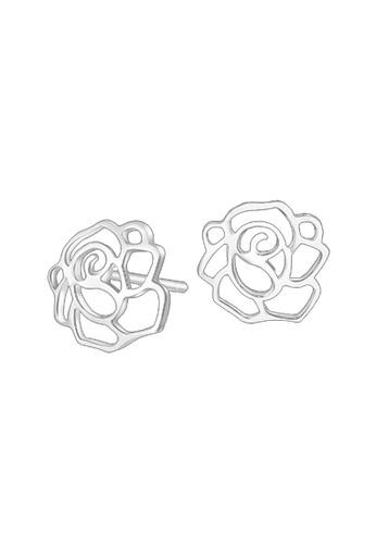 Elfi silver Elfi 925 Sterling Silver Rose Shape Fashion Earrings SE55 EL186AC0RWR1MY_1