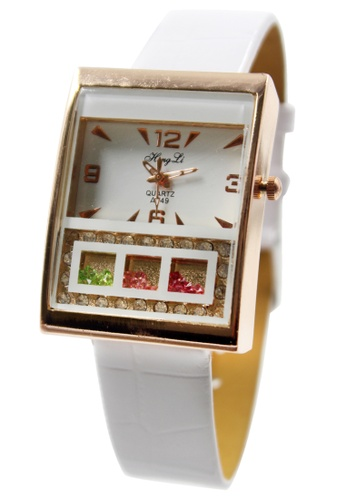 World of Watches white and gold Hong Li Clarisse Leather Stoned Watch A549 WO566AC00JHJPH_1