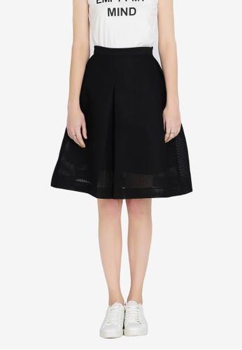 Hopeshow black Plain Flared Skirt 8E9A5AADE1F07BGS_1