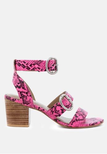RAG & CO pink Stacked Heel Snake Print Sandal 06EBCSH9F6CB2FGS_1