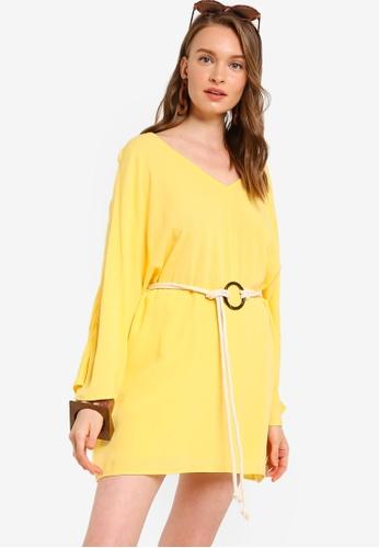 Tula Cruz yellow Dolman Sleeve Mini Dress with Rope Belt 52DD3AAB3DA6D3GS_1