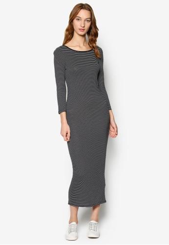 KN Trixie 條紋圓領長袖連身長裙, 服esprit分店地址飾, 洋裝