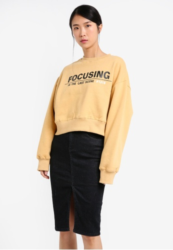 Stylenanda yellow Focusing Text Sweatshirt ST343AA0SXJYMY_1