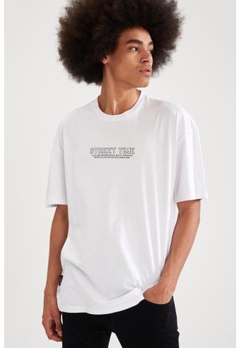 DeFacto white Short Sleeve Round Neck Cotton Printed T-Shirt 7C7E2AA63D62D1GS_1