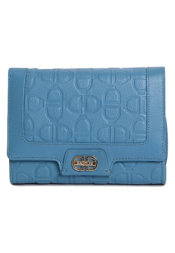 SADDLER blue SADDLER Leather DD Monogrammed 3/4 Flapover Concertina Note Case with Inside 3 Way Zipper Coin Purse SA661AC24GPRHK_1