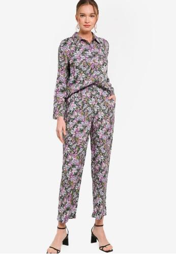 Lubna 黑色 and 紫色 襯衫及直筒褲套裝 3E47FAABAE5A14GS_1