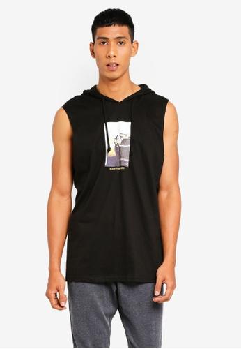 Cotton On 黑色 無袖印花連帽背心 D4653AAF385CE8GS_1