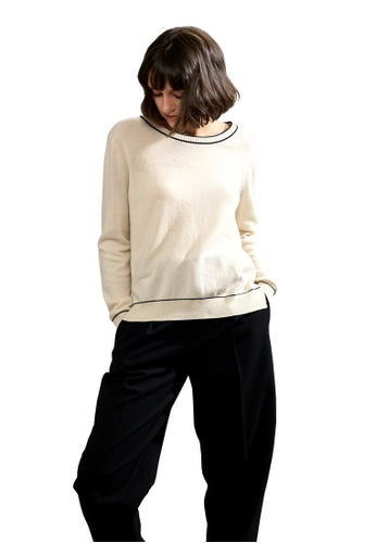 22 Factor beige Paloma Embroidered Cashmere Sweater 5EDABAAD630888GS_1