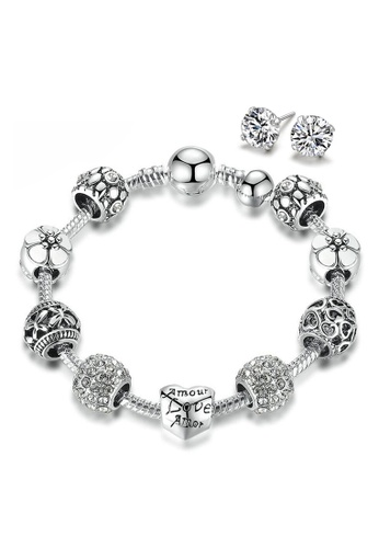 YOUNIQ silver YOUNIQ 925S Silver Plated Charm Bracelet with Love & Flower Crystal Ball & CZ White 925S Silver Earrings Special Set F789AAC10F544DGS_1