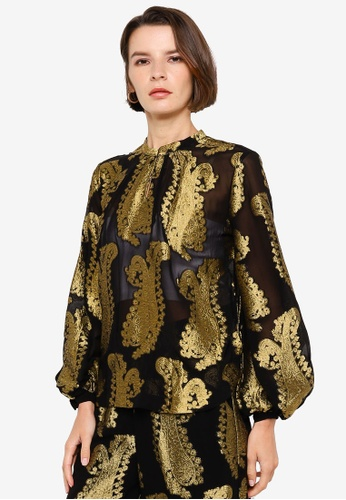 H&M black and multi Jacquard-Patterned Blouse C9A0FAAD04237CGS_1
