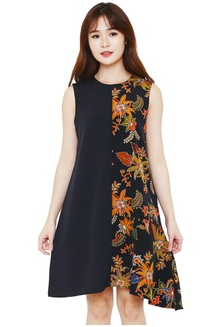... Batik Flike Store Dress Wanita Asymetric Dress Black - Black Infuse 3c72a71839