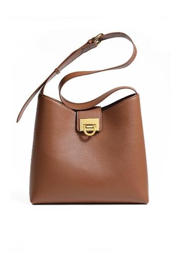 Twenty Eight Shoes brown VANSA Leather Crossbody Bucket Bag VBW-Cb09201 1842AAC8EF002FGS_1
