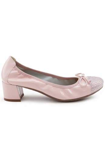 Shu Talk pink Elegant Patent Round Toe Studs Blocked Heel SH397SH0FPKHSG_1