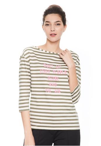 Sisley green Striped T-shirt 0B6A1AA0EDD331GS_1