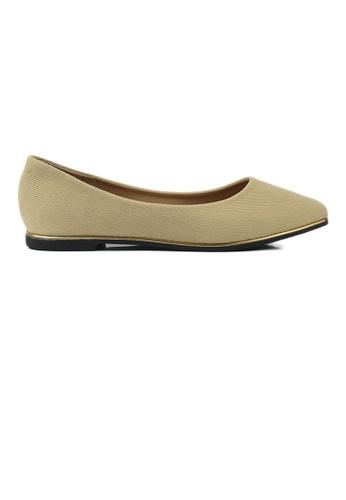 SHINE beige SHINE Point Toe Shiny Flats 03104SH19A5CD3GS_1
