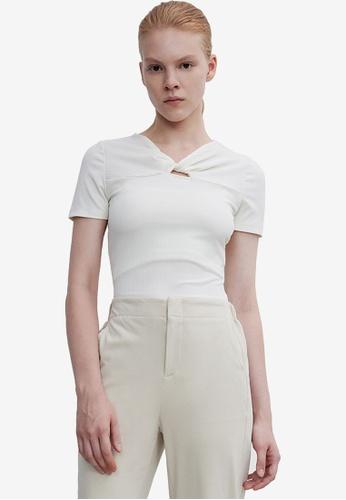 URBAN REVIVO white Twisted T-Shirt 69980AA03F750AGS_1