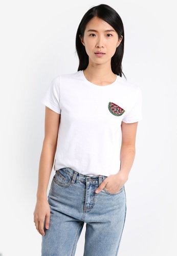 ZALORA white Basic Fit Tee With Watermelon Patch E0FE3AA2DD0F72GS_1