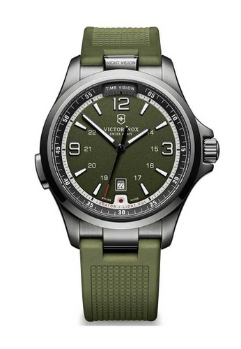 Victorinox Swiss Army green Victorinox Swiss Army Night Vision Gunmetal and Green Rubber Watch 09D0DACE8ECE2EGS_1