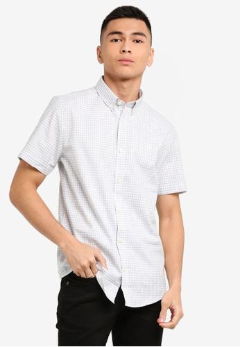 Burton Menswear London 灰色 短袖格紋牛津襯衫 BF6F3AA3871BD2GS_1