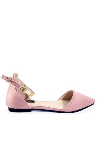 Twenty Eight Shoes 粉紅色 閃耀的踝帶尖頭小跟鞋 VL916814 E7324SHB00042CGS_1