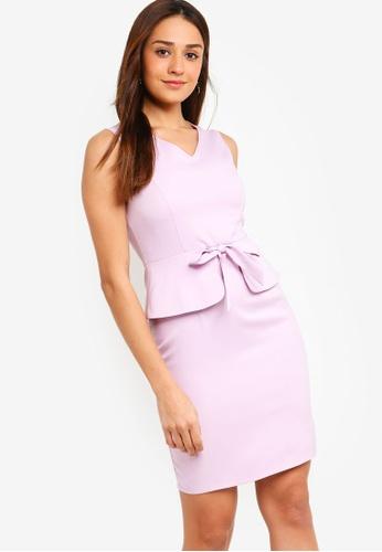 ZALORA purple Peplum Detail Sheath Dress 3281DAAECB9029GS_1
