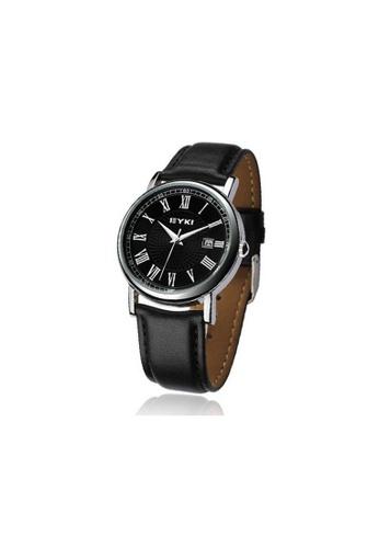 Eyki black Eyki W8522 Suntimer Men Date Leather Watch (Black) EY078AC22RMNMY_1