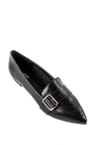 Otto black Vegan Leather Pointed Loafers C2A03SH5477D3DGS_1