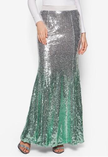 Gradient Sequin Skirt, 服飾, zalora 衣服尺寸長裙