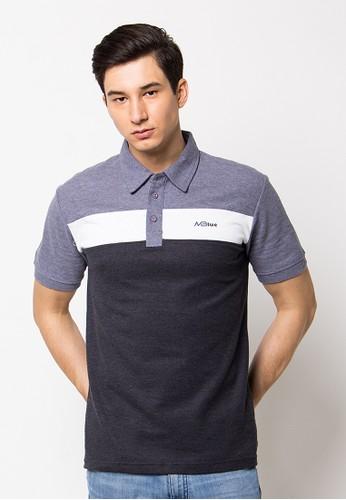 MBlue Polo Shirt kombinasi Grey,white&black