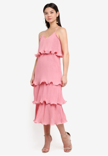 True Decadence pink Cami Strap Layered Ruffle Dress CC36EAA9CA44BCGS_1