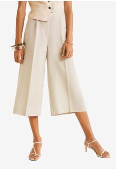 d8e048dd9cc Mango beige Flared Linen-Blend Trousers 6E9E1AAF114F12GS 1