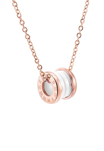 CELOVIS white and gold CELOVIS - Brinley Roman Numeral Necklace in White E54D8AC052C931GS_1