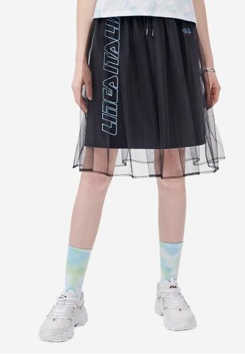 FILA black FUSION Vertical LINEA ITALIA Logo Mesh Layered Skirt 81678AAD0B4139GS_1
