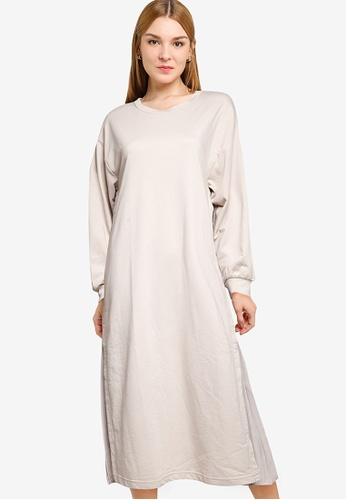 GLOBAL WORK beige Plain Midi Dress 766EEAACA479E5GS_1