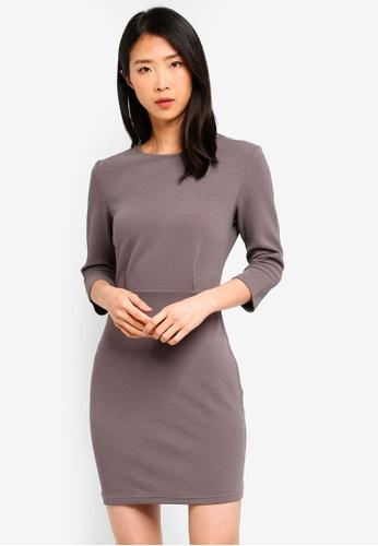 ZALORA BASICS grey Basic Half Sleeve Sheath Dress 35B6CAA4D66E7FGS_1