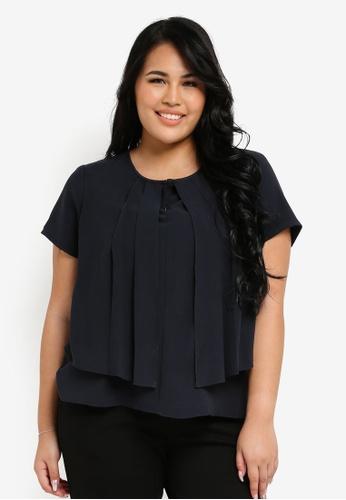 Ex'otico black Plus Size Short Sleeve 2 Layers Blouse EX373AA0SL8EMY_1